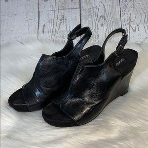 Aerosoles Black Platform Wedge Slingback Sandal